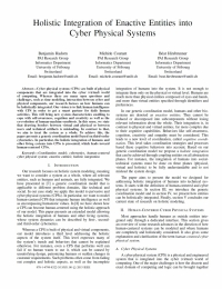 Holistic Integration of Enactive Entities into Cyber Physical Systems